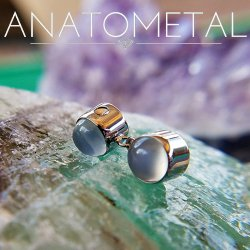 Anatometal Titanium Captive Gem Bezel with One Dangle Gem Bezel 16 Gauge 14 Gauge 12 Gauge 16g 14g 12g