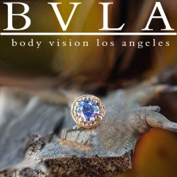 "BVLA 14kt & 18kt Gold ""4mm Millgrain Prong 2mm Gem"" Threadless End 18g 16g 14g ""Press-fit"""