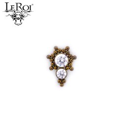 LeRoi Titanium Threaded 2 Gem Cluster 4mm/3mm Gems with 21 Titanium Bead accents 18 Gauge 16 Gauge 14 Gauge 12 Gauge 18g 16g 14g 12g