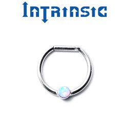 Intrinsic Body Titanium 1 Gem Septum Clicker Nose Ring Daith Ring 18 Gauge 16 Gauge 14 Gauge 18g 16g 14g