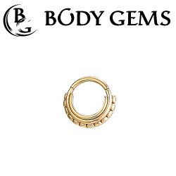 "Body Gems 14kt Gold Beaded ""Three Ring Circus"" Clicker Septum Daith Ring 16 Gauge 16g"