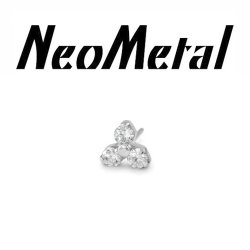 "18 Gauge 18g NeoMetal Titanium Threadless Trinity Gem End ""Press-fit"""