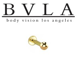 "BVLA 14kt & 18kt ""Complete Labret with 1/8"" Ball"" 14g Body Vision Los Angeles"