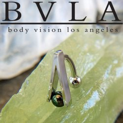 "BVLA 14kt Gold ""A-Line"" Black Pearl Navel Curved Barbell 14 Gauge 14g Body Vision Los Angeles"