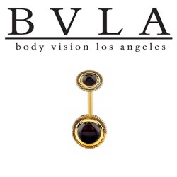 "BVLA 14kt Gold ""Rioja"" Navel Curved Barbell 14 gauge 14g Body Vision Los Angeles"
