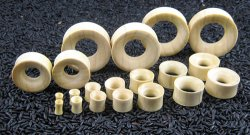 "Double Flared Crocodile Wood Eyelets 8g-1&1/2"" (Pair) 3mm-38mm"