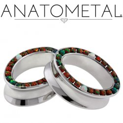 "Anatometal Surgical Steel Ellipse Multi Gem Eyelet Tunnel 5/8"" - 2"""