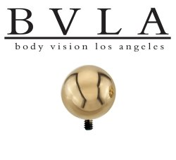 "BVLA 14kt & 18kt Gold ""1/4"" Bead"" Threaded Ball End 6 8 10 12 14 Gauge 6g 8g 10g 12g 14g Body Vision Los Angeles"