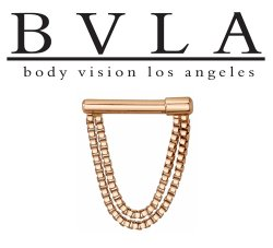"BVLA 14kt & 18kt Gold ""Dire Straights"" Septum Clicker Nose Ring 16 Gauge 16g Body Vision Los Angeles"