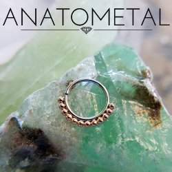 Anatometal Surgical Steel Vaughn Seam Ring With Gold Bead Overlay 18 Gauge 18g
