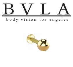 "BVLA 14kt & 18kt ""Complete Labret with 3/16"" Ball"" 14g Body Vision Los Angeles"
