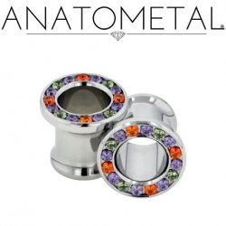 Anatometal Surgical Steel Multi-Gem Eyelet 6 Gauge 6g - 7/8""