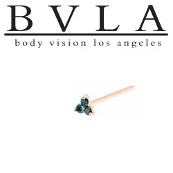 "BVLA 14Kt Gold 2.5mm ""Tri Prong Cluster"" Nostril Screw Nose Bone 20g 18g 16g Body Vision Los Angeles"