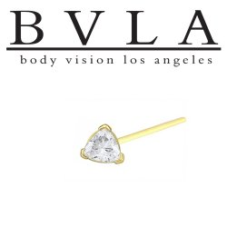"BVLA 14kt Gold ""Trillion"" Nostril Screw Nose Bone Ring Stud Nail 20g 18g 16g Body Vision Los Angeles"