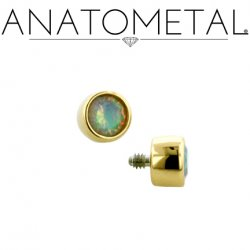 Anatometal 18kt Gold Threaded 2.5mm Bezel-set Faceted Gem End 18g 16g 14g 12g