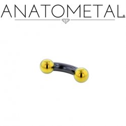 Anatometal Niobium Curved Barbell with Titanium Ball Ends 8 Gauge 8g
