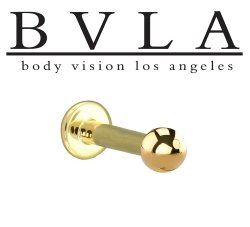 "BVLA 14kt & 18kt ""Complete Labret with 5/32"" Ball"" 12g Body Vision Los Angeles"
