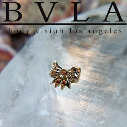"BVLA 14kt & 18kt Gold ""Gift Bow"" Threaded End 18g 16g 14g 12g Body Vision Los Angeles"