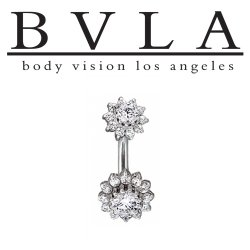"BVLA 14kt Gold ""The Rose"" Navel Curve Barbell 14 gauge 14g Body Vision Los Angeles"