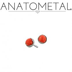 Anatometal Titanium Threadless 2mm Prong-set Cabochon Gem End 18g 16g 14g (25g Pin Universal) Threadless Posts Press-fit
