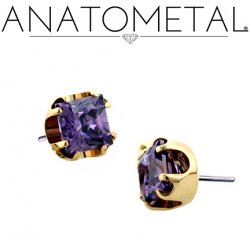 Anatometal 18kt Gold 4mm Prong-set Princess-cut Gem Threadless End 18g 16g 14g (25g Pin Universal) Threadless Posts Press-fit