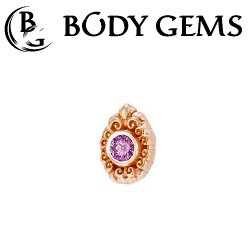 "Body Gems 14kt Gold Pear Elegance Threadless End 25g Pin (will fit 18g, 16g, 14g Universal Threadless Posts) ""Press-fit"""