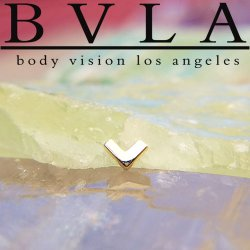 "BVLA 14kt & 18kt Gold ""Flat V"" 4mm Threaded End 18g 16g 14g 12g Body Vision Los Angeles"