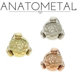 Anatometal 18Kt Gold Claw-set Hammered Gold Ball Threadless End 18g 16g 14g (25g Pin Universal) Threadless Posts Press-fit