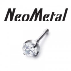 "16 Gauge 16g NeoMetal Threadless Titanium Prong-Set Gem 2.5mm ""Press-fit"""