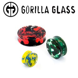 "Gorilla Glass Double Flare Power Plugs 0g to 2"" (Pair)"