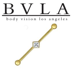 "BVLA 14kt & 18kt Gold ""Square Bezel Genuine VS Princess Diamond Industrial Barbell with 5/32"" Ball Ends"" 14 Gauge 14g Body Vision Los Angeles"