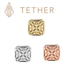 "Tether 14Kt Gold Square Star Threadless End 25g Pin (will fit 18g, 16g, 14g Universal Threadless Posts) ""Press-fit"""