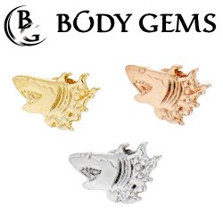 "Body Gems 14kt Gold ""Shark"" Threaded End Dermal Top 18 Gauge 16 Gauge 14 Gauge 12 Gauge 18g 16g 14g 12g"