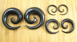 "Organic Black Horn Spirals 10g-1/2"" (Pair) 2.5mm-12.5mm"