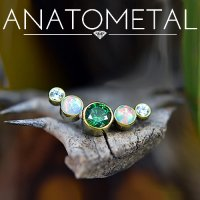 "Anatometal Titanium Small ""Arc"" 5 Gem Curved Cluster Threaded End 18g 16g 14g 12g"