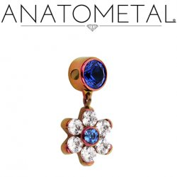 "Anatometal Titanium 3/16"" Captive Bezel-set Gem w/ 7mm Flower Dangle 18 gauge 16 gauge 14 Gauge 12 Gauge 18g 16g 14g 12g"