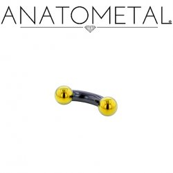 Anatometal Niobium Curved Barbell with Titanium Ball Ends 10 Gauge 10g