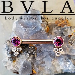 "BVLA 14kt & 18kt Gold ""Bezel w/ Tri-Accent"" Straight Barbell Forward Facing Round Gems in Open Back Bezels with Tri Bezel Gem Clusters 14 Gauge 14g Body Vision Los Angeles"
