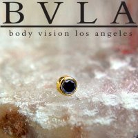 BVLA 14kt Gold Bezel-set Genuine Black Diamond 2mm 2.5mm 3mm Threaded End Dermal Top 18g 16g 14g 12g Body Vision Los Angeles