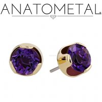 Anatometal 18kt Gold 8mm Prong-set Faceted Gem Earrings (Pair)