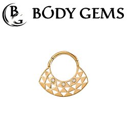 "Body Gems 14kt Gold ""Bermuda"" Septum Clicker Hinge Ring 16 Gauge 16g"