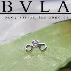 "BVLA 14Kt Gold ""Honeycomb"" Threadless End 18g 16g 14g ""Press-fit"" Body Vision Los Angeles"