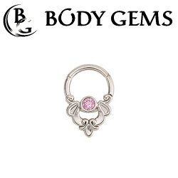 Body Gems 14kt Gold Clicker with 2.5mm Gem and Frame Style Knocker Septum Daith Ring16 Gauge 14 Gauge 16g 14g
