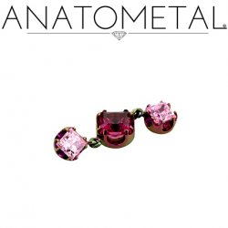 "Anatometal Titanium Threadless 3mm Princess-cut Gem End w/ 4mm 3mm Princess-cut Dangles 18 gauge 18g ""Press-fit"""