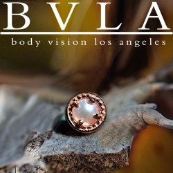 "BVLA 14kt & 18kt Gold ""Millgrain 3mm Prong-set Gem"" Threaded End Dermal Top 18g 16g 14g 12g Body Vision Los Angeles"