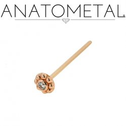 Anatometal 18kt Gold Ipsa Nostril Screw Nose Ring 2mm Gem 20 Gauge 18 Gauge 20g 18g