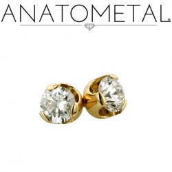 Anatometal 18Kt Gold Threadless Prong-Set Diamond End 2mm 2.5mm 3mm 25g Pin (will fit 18g, 16g, 14g Universal Threadless Posts) Press-fit