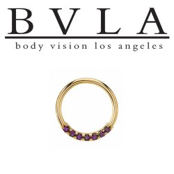 "BVLA 14kt Gold ""Blaze 7"" with 1.5mm Gems Nose Nostril Septum Daith Seam Ring 18 Gauge 16 Gauge 18g 16g Body Vision Los Angeles"