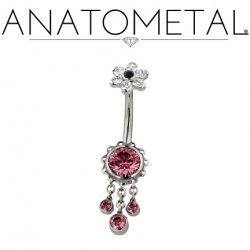 Anatometal Surgical Steel Aurora Navel Curve Belly Button Ring 7mm Flower w/ Dangles 14 Gauge 14g