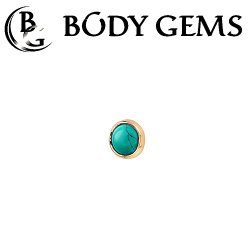Body Gems 14kt Gold Super Flat 3mm Cabochon Threaded End Dermal Top 18 Gauge 16 Gauge 14 Gauge 12 Gauge 18g 16g 14g 12g